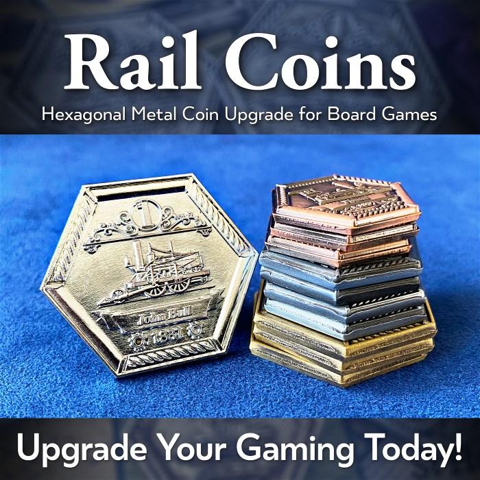 Rail Coins: Hexagonal Metal Coins for Train Games